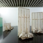 Untitled (Slabs), 2012, plaster, wire, timber, hessian, colouring pencil, dimensions variable