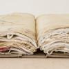a recollection, 2014, portrait linen, bookboard, antique linens, (each) 37 x 27 x 6cm